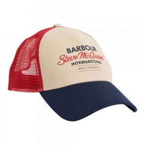 Barbour International SMQ Trucker Cap - Navy / Red / Stone