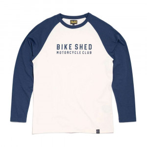 Bike Shed Motorcycle Club Brick Baseball Longsleeve Tee - Navy / White