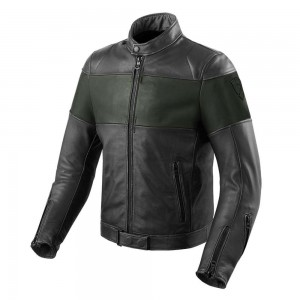REV'IT Nova Vintage Leather Jacket - Black / Green