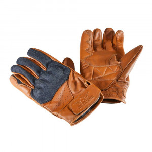 Rokker Denim / Leather Gloves - Brown