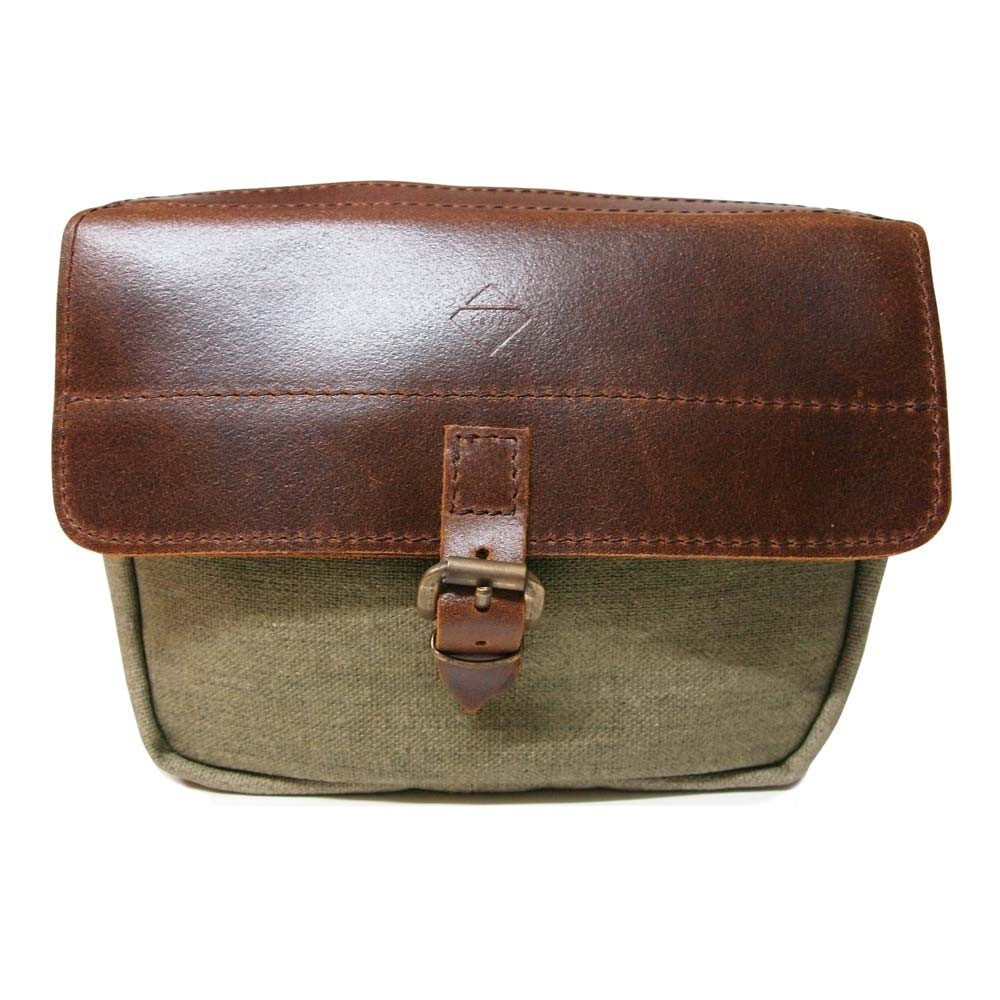 Crave Mini Moto Bag - Brown Leather and Waxed Cotton cd0646658935a