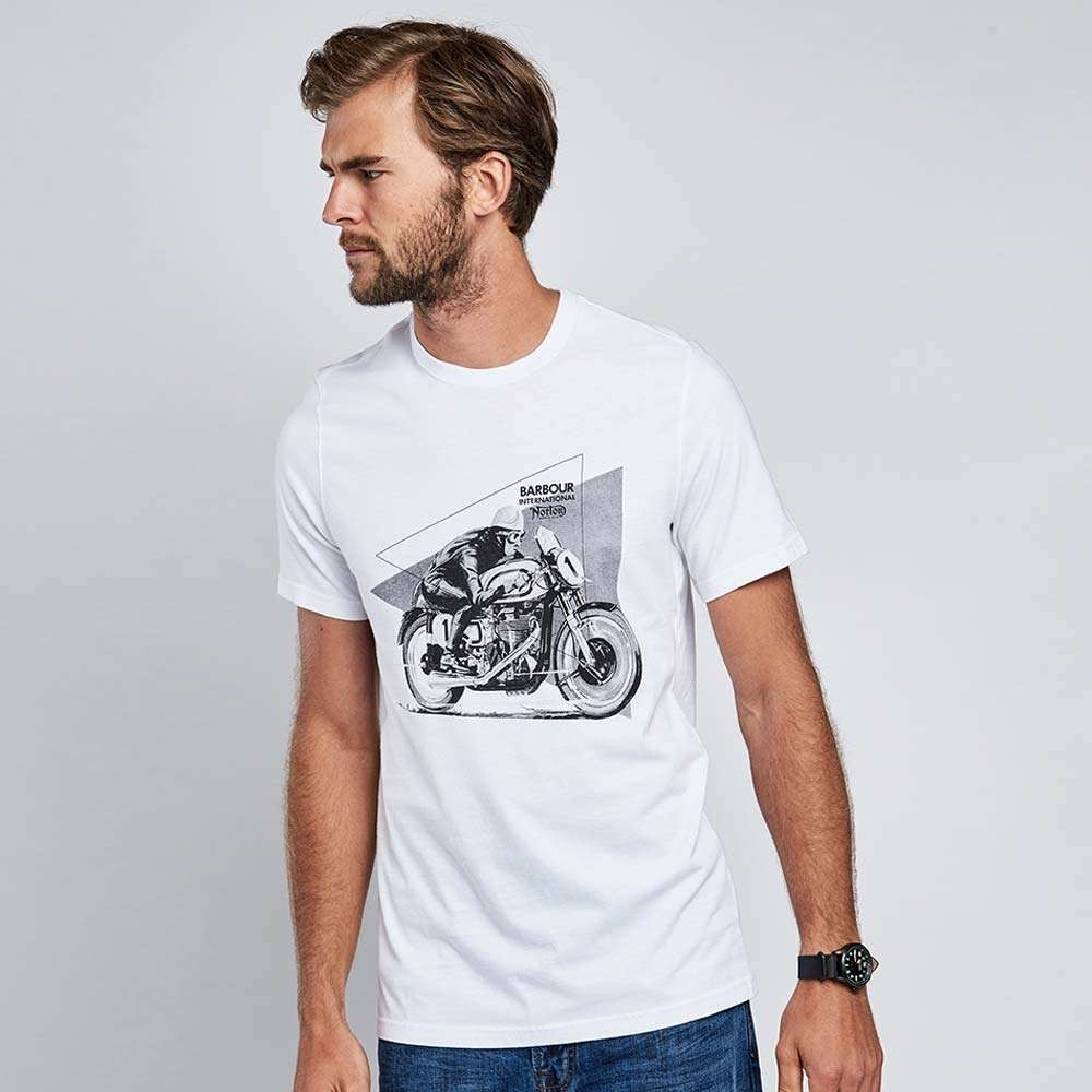 Barbour International Norton Racer T Shirt - White