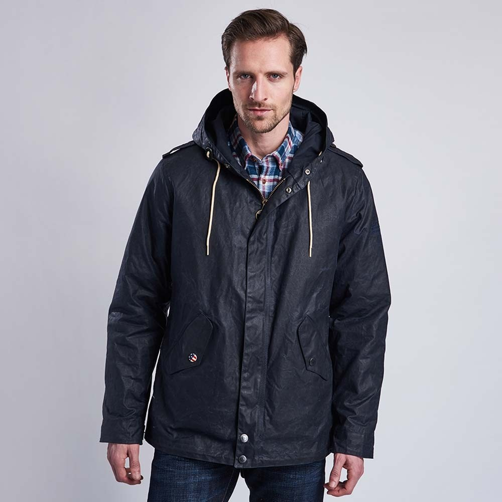 International Steve McQueen Shell Wax Parka Jacket - Navy