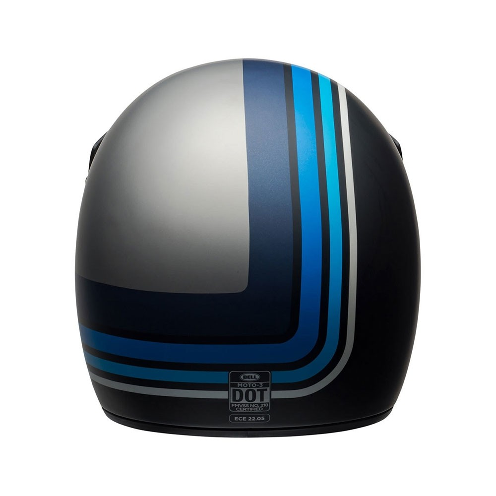 Bell Moto 3 Helmet - Stripes Silver / Black / Blue