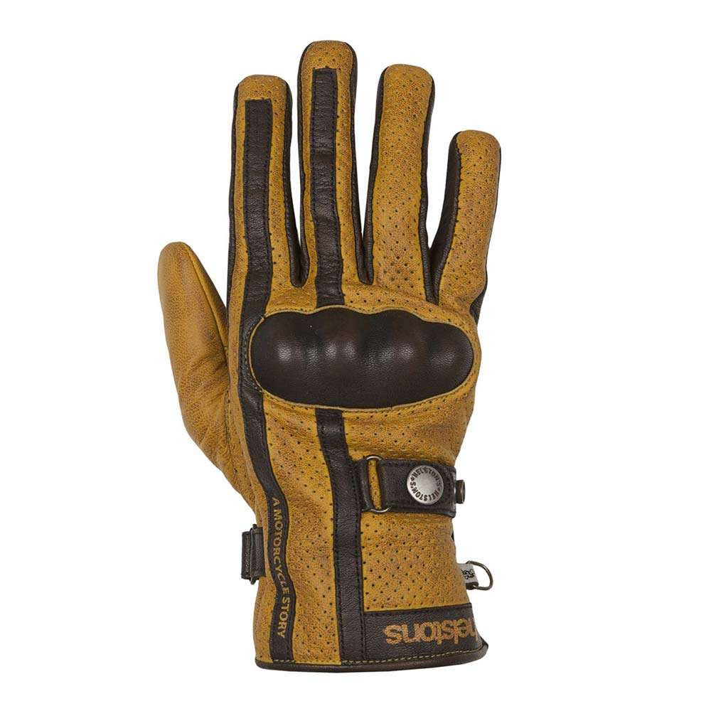 Helstons Eagle Perforated Gloves - Gold / Brown