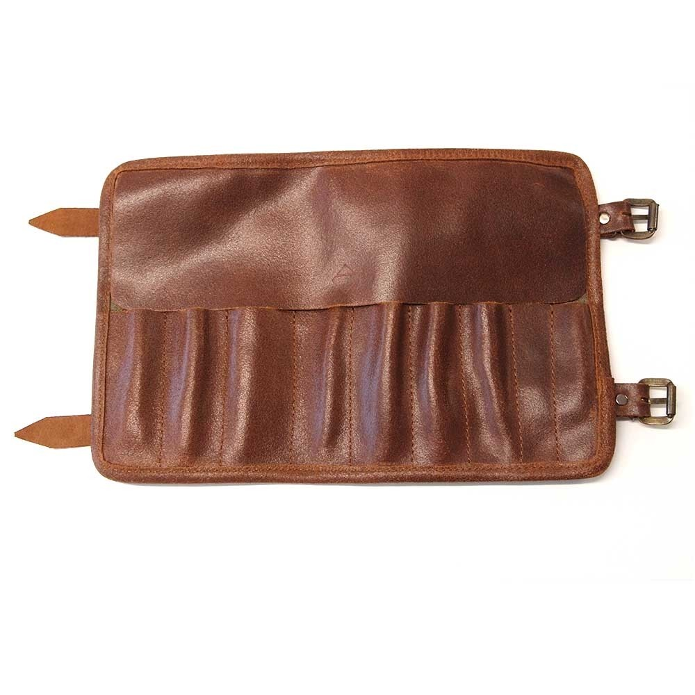Crave Tool Roll - Dark Brown Leather / Waxed Cotton