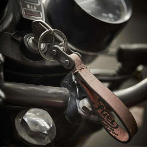 Fuel Motorcycles Chain Link Key Ring - Tan