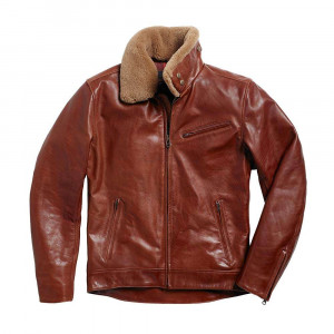 Triumph Harlow Shearling Collar Leather Jacket - Brown