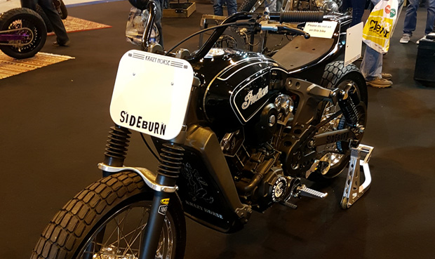 A Sideburn Flat Track on display at Motorcycle Live