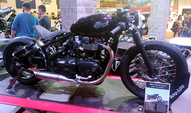 A Triumph Bobber on display at Motorcycle Live