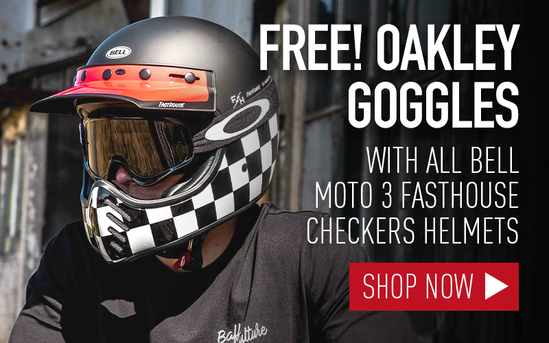 free oakley motorcycle goggles with bell moto 3 fasthouse helmet